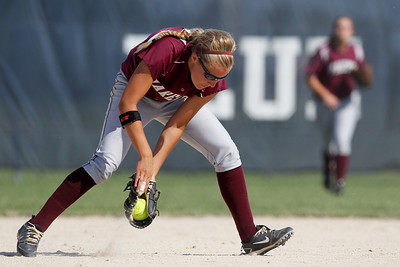 Mike Greene - mgreene@shawmedia.com Marengo's Shae Karsten a grounder on the infield during the first inning of the Class 3A Belvidere North Sectional Final against Sterling Monday, June 4, 2012 in Belvidere. Marengo won the game 2-1 to take home the sectional title.