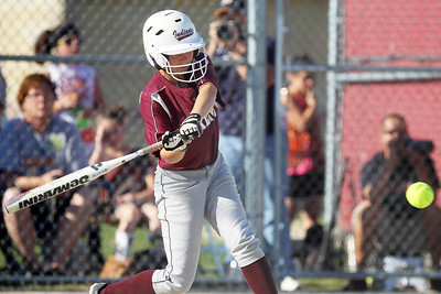 Mike Greene - mgreene@shawmedia.com Marengo's Larissa Pfieffer swings at a pitch during the sixth inning of the Class 3A Belvidere North Sectional Final against Sterling Monday, June 4, 2012 in Belvidere. Pfieffer singled on the swing, knocking in one run and helping Marengo win the game 2-1.