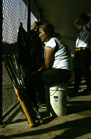 H. Rick Bamman - hbamman@shawmedia.com Jacobs' Alyssa Lach sits in the dugout late in the seventh inning during the IHSA Class 4A Girls Softball Supersectional Monday, June 4, 2012. Jacobs lost 4-1.