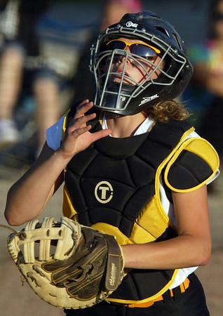H. Rick Bamman - hbamman@shawmedia.com Jacobs' Kelsey Cummings watchs a ball go foul in the IHSA Class 4A Girls Softball Supersectional.