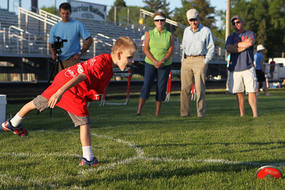 Mike Greene - mgreene@shawmedia.com Ethan Martinez, 10 of Algonquin, participates in the discus during the 5th Annual Run & Roll Track Meet Wednesday, June 6, 2012 at McCracken Field in McHenry. Martinez, who is blind, was one of 25 individuals that took part in the event which included participants of all ages with physical and visual disabilities.