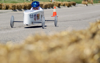 Sarah Nader - snader@shawmedia.com Sydney Murrin competes in the 10th annual Kiwanis Soap Box Derby in McHenry on June, 9, 2012. The first-place finisher at the derby qualified for next month's All-American Soap Box Derby in Akron, Ohio.