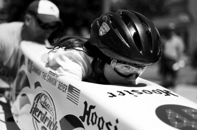 Sarah Nader - snader@shawmedia.com Shannon Beyer, 10, of McHenry eyes the finished line while waiting to start her race while competing in the 10th annual Kiwanis Soap Box Derby in McHenry on June, 9, 2012.