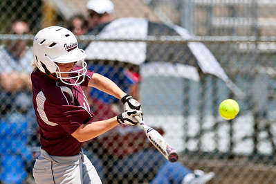 Skyler Edwards/For the Northwest Herald Marengo's Larissa Pfeiffer gets a hit Saturday during the first inning of the IHSA Class 3A Championship Game against Glenbard South.