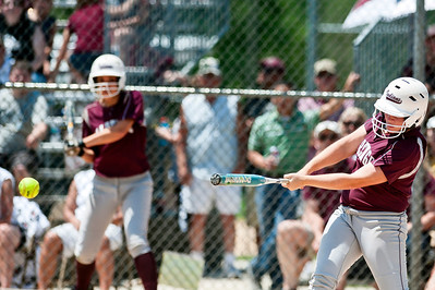Skyler Edwards/For the Northwest Herald Marengo's Stephanie Cartwright gets a base hit Saturday during the third inning of the IHSA Class 3A Championship Game against Glenbard South.