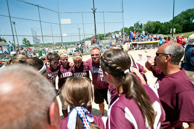 Skyler Edwards/For the Northwest Herald The Marengo Indians bring it in after the IHSA Class 3A Championship Game against Glenbard South at EastSide Centre in East Peoria.
