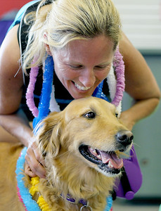"Sarah Nader - snader@shawmedia.com Susie Eichhorn of West Dundee comforts her dog, Sadie, while she gets her nails cut while attending the All About Dogs Luau and Pet Adoption hosted by On Angels' Wings in Crystal Lake on Saturday, June 16, 2012. The event featured activities include agility training, treats of all kinds, $5 nail trims, $5 dog baths, $10 pet portraits, $10 ""dog tags"" for humans, samples of dog food and supplies from local vendors, games for humans and their four-legged companions, and music by DJ Mark."