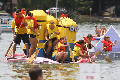 "Mike Greene - mgreene@shawmedia.com Crew members of the ""Filet Minion"" try to stay on board as the ship quakes during the 28th Annual America's Cardboard Cup Regatta Saturday, June 23, 2012 at Main Beach in Crystal Lake."