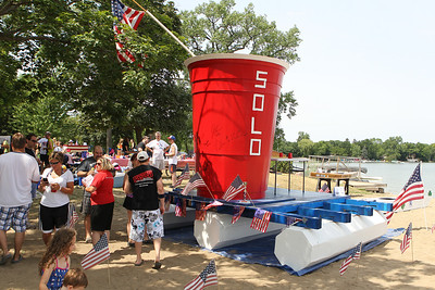 "Mike Greene - mgreene@shawmedia.com The ""Red Solo Cup"" was one of the most popular contestants at the 28th Annual America's Cardboard Cup Regatta Saturday, June 23, 2012 at Main Beach in Crystal Lake. Members of the team spent 40 hours on the cup and 40 hours on the boat, which sank shortly after passing the starting line."