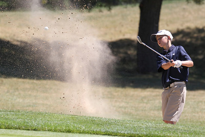 Mike Greene - mgreene@shawmedia.com Jake Grabner hits out of a sand trap near the green on the 2nd hole during the McHenry County Junior Golf Association's Pinecrest Open Monday, June 25, 2012 at Pinecrest Golf Club in Huntley.
