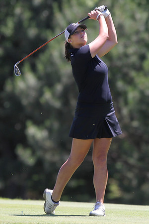Mike Greene - mgreene@shawmedia.com Danielle Roulo watches her drive on the 1st hole during the McHenry County Junior Golf Association's Pinecrest Open Monday, June 25, 2012 at Pinecrest Golf Club in Huntley.