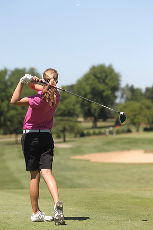 Mike Greene - mgreene@shawmedia.com Emily Jean tees off on the 5th hole during the McHenry County Junior Golf Association's Pinecrest Open Monday, June 25, 2012 at Pinecrest Golf Club in Huntley.