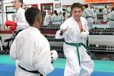 Mike Greene - mgreene@shawmedia.com Alex Perez (right), 16 of Crystal Lake, practices sparring with Jose Mestey, 14 of Algonquin, while training for the upcoming AAU Karate National Championships Saturday, June 30, 2012 at Focus Martial Arts and Fitness in Lake in the Hills.