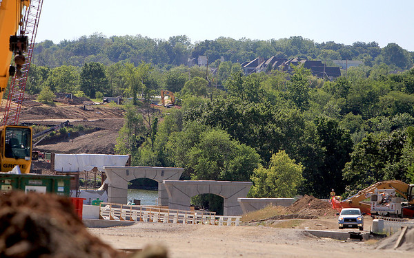 Construction on the new Red Gate Road Bridge in St. Charles is on schedule.