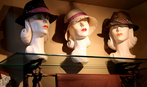 Hats for sale at Panaché in downtown St. Charles.