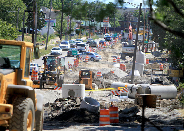 Traffic is moved to two lanes during construction on Route 64 in St. Charles.