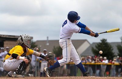 Brett Moist/ for the Northwest Herald Dundee Crown's Ryan Suwanski strikes out to end the 6th inning of their 4A Sectional Championship matchup against Jacobs at Huntley High School on Saturday. Jacob's won the 4A Sectional Championship 9-0