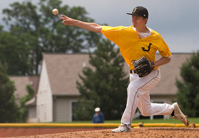 Brett Moist/ for the Northwest Herald Jacobs Pitcher Nick Ledinsky pitches a shut out to win the Class 4A Sectional Championship 9-0 against Dundee Crown on Saturday at Huntley High School.