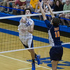 St. Charles North's Jack Harbaugh (6) goes up high for a kill against Oak Park-River Forest's Levi Algozino (10)<br /> during their state quarterfinal game at Hoffman Estates High School in Hoffman Estates, IL on Friday, May 31, 2013 (Sean King for The Kane County Chronicle)