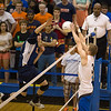 St. Charles North's Pat Misiewicz (3) blocks a kill attempt by Oak Park-River Forest during their state quarterfinal game at Hoffman Estates High School in Hoffman Estates, IL on Friday, May 31, 2013 (Sean King for The Kane County Chronicle)