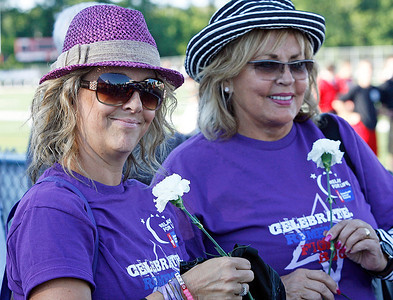 Deanna Murphy, North Barrington and Eydie Major, Barrington, survivors.  The annual Relay For Life for the Barrington area brings survivors, care-takers and volutneers to the athletic track at Barrington High School to celebrate life, honor the memory of those gone and help raise funds for research and a cure.. | Joe Cyganowski-For Barrington Life