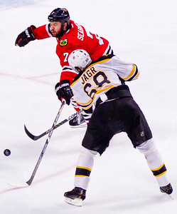 Kyle Grillot - kgrillot@shawmedia.com Chicago's Brent Seabrook guards Boston's Jaromir Jagr during the third period of Game 2 of the 2013 Stanley Cup Finals against Boston at the United Center in Chicago Wednesday, June 15, 2013.