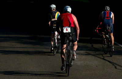 Tom Fox (6) during the 2nd leg of the Lake in the Hills Triathlon on Sunday. Brett Moist / For the Northwest Herald