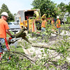 Geneva Public Works employees Tim Pree (far left), Clint Bowgren and Eric Moutray work to remove an ash tree as it is removed from Green Meadow Lane in Geneva Thursday.