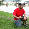 "Gonzalo Rodriguez, from Melrose Park, works to remove a fishing hook from the mouth of a catfish while fishing along the Fox River in Pottowatomie Park in downtown St. Charles. Rodriguez brought his nephews with him from Melrose Park so they could ""fish and have fun."""