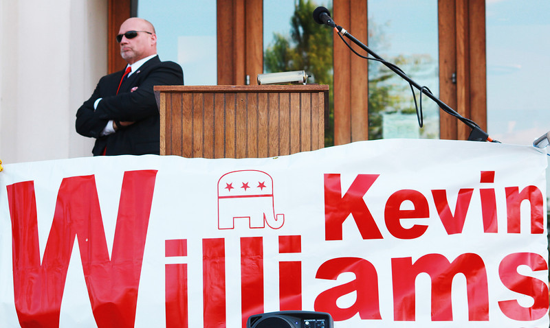 Lieutenant Kevin Williams of the Kane County Sheriff's Department announces his candidacy for the 2014 Republican nomination for sheriff in 2014 at the Kane County Judicial Center Thursday.