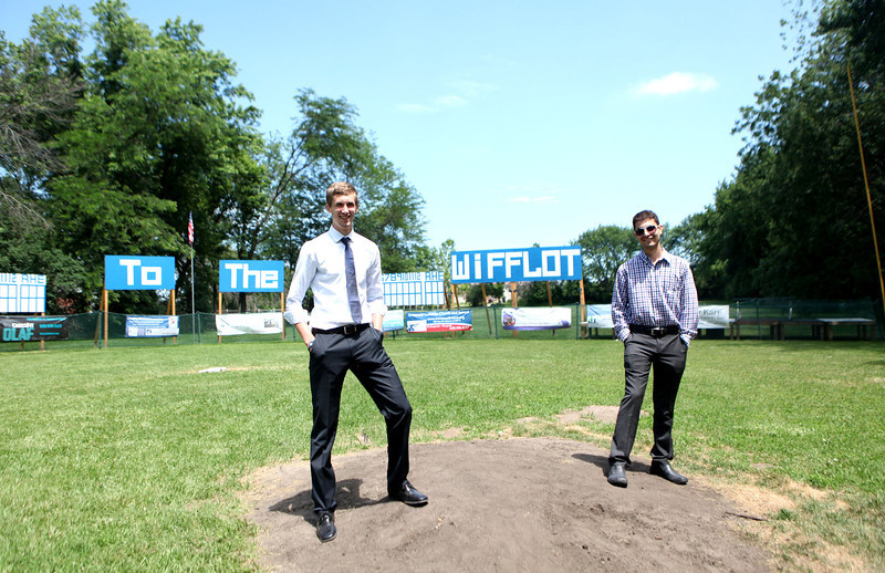 Recent Batavia High School graduate Ryan Pawlawski (left) and Batavia senior Andrew Martinez have organized a Wiffle ball league and created a field adjacent to Pawlawski's home.