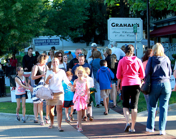 Crowds pack Third Street during the Swedish Days Festival Tuesday evening in Geneva.