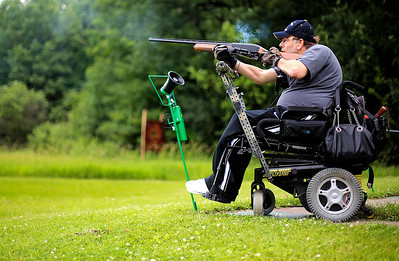 Kyle Grillot - kgrillot@shawmedia.com   Bob Ariciola of Bartlett fires a shotgun during the first annual Joe's Wish shootout for paralyzed veterans Saturday at the McHenry Sportsman's Club. Joe's Wish, a nonprofit that helps area veterans hosted the event and McHenry Sportsman's Club donated their facilities, staff, and clays.