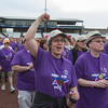 8 Year Cancer Survivor Cindy Blank of Naperville Celebrates while walking the survivor lap during the 2013 relay for life at Fifth Third Bank Ballpark in Geneva, IL on Friday, June 21, 2013 (Sean King for Shaw Media)