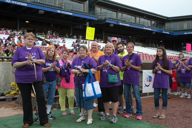 Cancer Survivors that have been cancer free for 9 - 11 years celebrate at the 2013 relay for life at Fifth Third Bank Ballpark in Geneva, IL on Friday, June 21, 2013 (Sean King for Shaw Media)