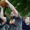 Jeff Krage – For Shaw Media<br /> Dave Hartnett of Batavia goes up for a shot Saturday during the Geneva Park District's 3-on-3 basketball tournament at Swedish Days. <br /> Geneva 6/22/13