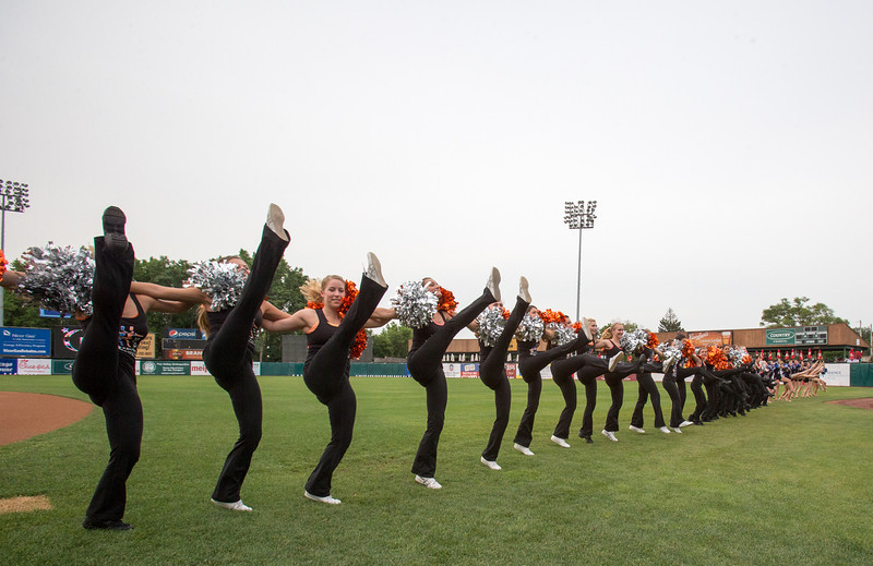 The Drill teams from St. Charles North and East performed for the crowd at the 2013 relay for life at Fifth Third Bank Ballpark in Geneva, IL on Friday, June 21, 2013 (Sean King for Shaw Media)