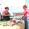 Sue Olszewski of Batavia purchase vegetables from Danielle Stojan of Stojan's Vegetables in Maple Park during the opening day of the season for the Geneva Green Market Thursday.