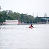 A kayaker makes his way north of Pottawatomie Park on the Fox River in St. Charles.