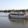 The Fox River Queen paddleboat travels down the Fox River in St. Charles.