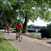 Bikers travel the Fox River Trail in Geneva.