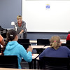 Katie Hoekstra teaches a pre-algebra class to incoming middle school students during a session of Kids' College at Elgin Community College.