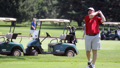 Jeff Krage – For Shaw Media Bob Lunkenheimer watches one of his tee shots during Sunday's McHenry County Senior Amateur at Pinecrest Golf Club in Huntley. Huntley 6/30/13
