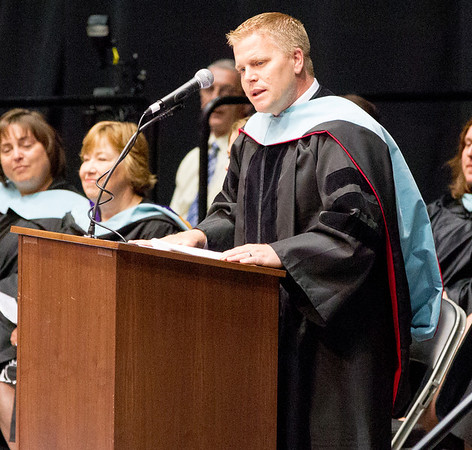 Kaneland Superintendent Dr. Jeff Schuler speaks to the class of 2014  during the school's commencement ceremony at NIU Convocation Center in DeKalb, IL on Sunday, June 01, 2014 (Sean King for Shaw Media)