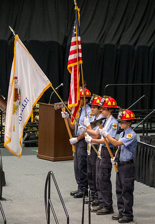 The Kaneland High School FVCC Seniors Fire Science Color Guard Perform the Presentation of Colors during the school's commencement ceremony at NIU Convocation Center in DeKalb, IL on Sunday, June 01, 2014 (Sean King for Shaw Media)