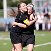 St. Charles East's Amanda Hilton (left) and Kelli Santo Paolo (right) celebrate Hilton's goal in the first half of their Conant Sectional final against Conant in Hoffman Estates Friday.