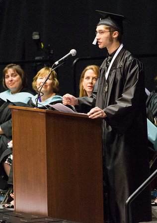 Kaneland High School graduate and Valedictorian Ethan P. Witt speaks to the class of 2014 during the school's commencement ceremony at NIU Convocation Center in DeKalb, IL on Sunday, June 01, 2014 (Sean King for Shaw Media)