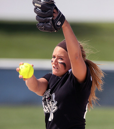 Jeff Krage – For Shaw Media<br /> Kaneland's Angie Morrow pitches during Saturday's IHSA class 3A regional championship at Burlington Central.<br /> Burlington 5/31/14