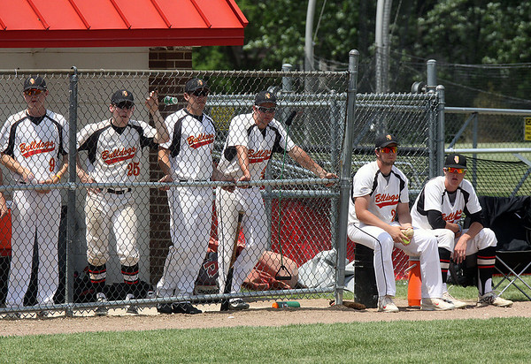 Jeff Krage – For Shaw Media<br /> Batavia players watch from the dugout trailing in the late inning of Saturday's IHSA class 4A Schaumburg sectional final against South Elgin. The Bulldogs lost 8-3.<br /> Schaumburg 6/7/14