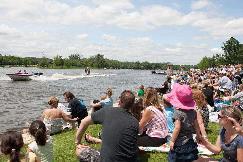 A large crowd gathered long the Fox River to watch The Wonder Lake National Championship Water Ski team perform during The St. Charles River Fest at Pottawatomie Park in St.Charles, IL on Sunday, June 08, 2014 (Sean King for Shaw Media)